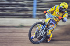 Unidentified rider. BRAILA, ROMANIA - May 31: Unidentified rider participate at National Championship of Dirt Track on May 31, 2014 on Braila, Romania Royalty Free Stock Image