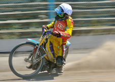 Unidentified rider. BRAILA, ROMANIA - May 11: Unidentified rider participate at National Championship of Dirt Track on May 11, 2014 on Braila, Romania Royalty Free Stock Photos