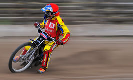 Unidentified rider. BRAILA, ROMANIA - May 31: Unidentified rider participate at National Championship of Dirt Track on May 31, 2014 on Braila, Romania Stock Images