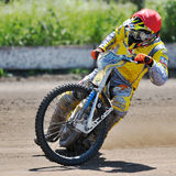 Unidentified rider. BRAILA, ROMANIA - May 11: Unidentified rider participate at National Championship of Dirt Track on May 11, 2014 on Braila, Romania Royalty Free Stock Images