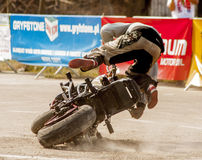 An unidentified rider crashes during Motoshow in Poland Stock Photo
