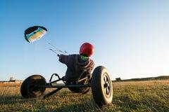Unidentified rider on a kitebuggy Royalty Free Stock Photo