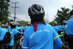 Unidentified riders in action during Bike for Mom event Royalty Free Stock Photos