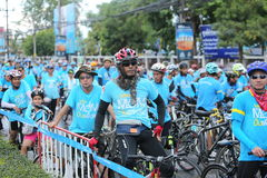 Unidentified riders in action during Bike for Mom event Stock Photography