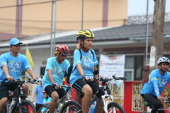 Unidentified riders in action during Bike for Mom event Stock Photos