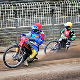 Unidentified riders participate at National Championship of Dirt Track Stock Photos