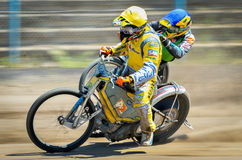 Unidentified riders participate at National Championship of dirt track Stock Images