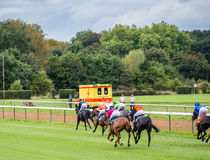 Unidentified riders, race on the racecourse, Germany, Magdeburg Stock Photography