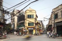 Unidentified riders ride motorbikes on busy road ,Hanoi, Vietnam. Stock Photography