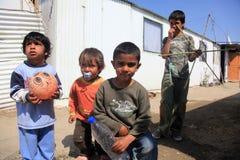 Unidentified Roma kids playing  Royalty Free Stock Image