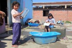 Unidentified Roma kids playing  Royalty Free Stock Photos