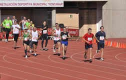 Unidentified runners in the half marathon Córdoba Stock Photos