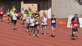 Unidentified runners in the half marathon Córdoba Stock Images