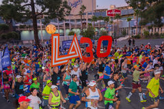 Unidentified runners at the start of the 30th LA Marathon Editio Royalty Free Stock Photo