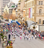 Unidentified runners on the street  in Novi Sad, Serbia Stock Image