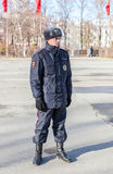 Unidentified Russian police officer in winter uniform Stock Photo
