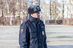 Unidentified Russian police officer in winter uniform Royalty Free Stock Images