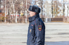 Unidentified Russian police officer in winter uniform Stock Photos