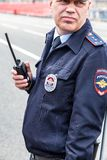 Unidentified Russian policeman in uniform. Samara, Russia - May 1, 2018: Unidentified Russian policeman in uniform watching the rule of law during the stock image