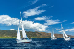 Unidentified sailboats participate in sailing regatta Royalty Free Stock Photography