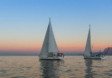 Unidentified sailboats participate in sailing regatta  Stock Photography