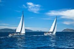 Unidentified sailboats participate in sailing regatta 12th Ellada. HYDRA, GREECE - CIRCA OCT, 2014: Unidentified sailboats participate in sailing regatta 12th royalty free stock images
