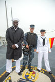 Unidentified sailor and marine on the deck of US guided missile destroyer USS McFaul during Fleet Week 2014 Royalty Free Stock Photos