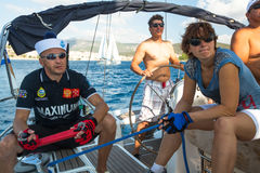 Unidentified sailors participate in sailing regatta  Stock Image