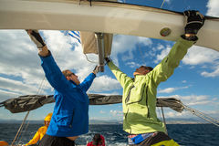 Unidentified sailors participate in sailing regatta  Stock Photos