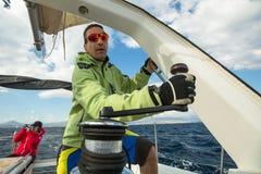 Unidentified sailors participate in sailing regatta Royalty Free Stock Photos