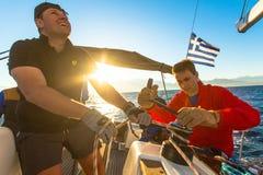 Unidentified sailors participate in sailing regatta 12th Ellada Autumn 2014 on Aegean Sea. Stock Images