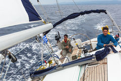 Unidentified sailors participate in sailing regatta 12th Ellada Autumn 2014 among Greek island group in the Aegean Sea Stock Photos