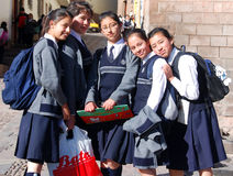 Unidentified School girls posing for portrait Royalty Free Stock Photography