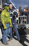 Unidentified Seattle Seahawks fan during interview on Broadway during Super Bowl XLVIII week in Manhattan Stock Photos