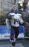 Unidentified Seattle Seahawks fan taken photo with Seahawks team uniform on Broadway during Super Bowl XLVIII week in Manhattan Royalty Free Stock Photos
