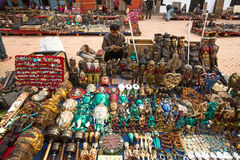 Unidentified seller souvenirs at Durbar Square Royalty Free Stock Photography