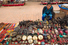 Unidentified seller souvenirs at Durbar Square, Nepal. Stock Photography