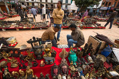 Unidentified sellers souvenirs at Durbar Square Stock Photography