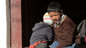 Unidentified sherpa boys. In Lukla, Everest Region, Nepal stock video