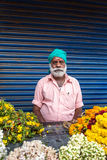 Unidentified sikh man sell flowers on streets of Cochin, India Royalty Free Stock Photography