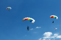 Unidentified skydiver on blue sky Royalty Free Stock Image