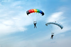 Unidentified skydivers on blue sky Royalty Free Stock Images