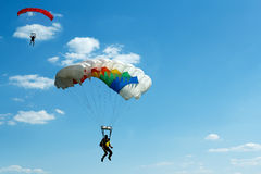Unidentified skydivers on blue sky Stock Photography