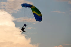 Unidentified skydivers, parachutist Royalty Free Stock Image