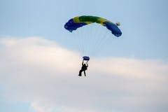 Unidentified skydivers, parachutist Stock Photos