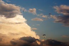 Unidentified skydivers, parachutist Royalty Free Stock Photo