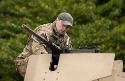 Unidentified soldier with machine gun Stock Photo