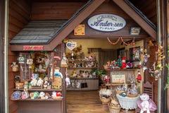 Unidentified souvenir shop at Miyagawa Morning Market in Takayama Japan royalty free stock photos