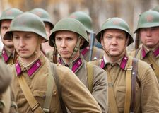 Unidentified Soviet soldiers in row royalty free stock images