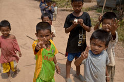 Unidentified street children posing Stock Photo